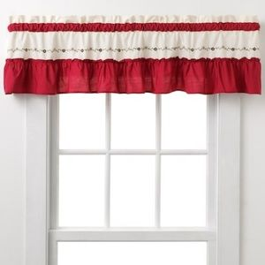 Floral Embroidered Ruffle Trim Window Valance